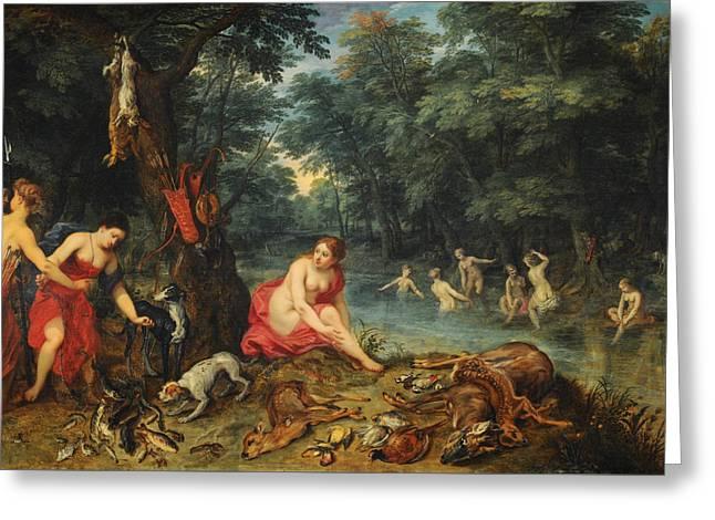 Bathing Nymphs Greeting Card by Jan Brueghel the Elder