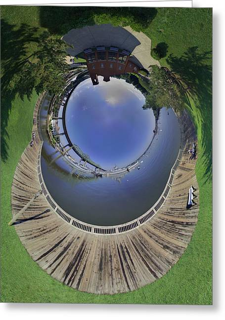 Battleship Cove Little Planet Greeting Card by Christopher Blake
