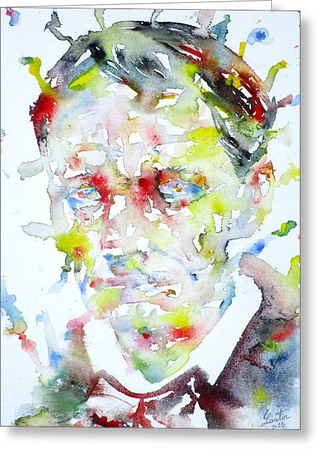 Baudelaire - Watercolor Portrait Greeting Card by Fabrizio Cassetta