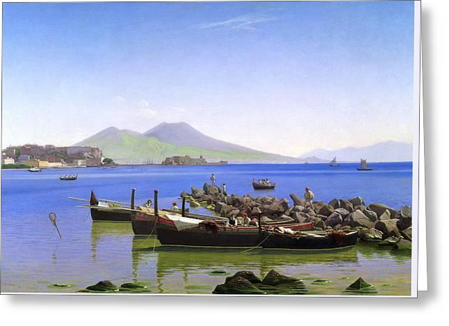 Bay Of Naples Greeting Card by Christen Kobke