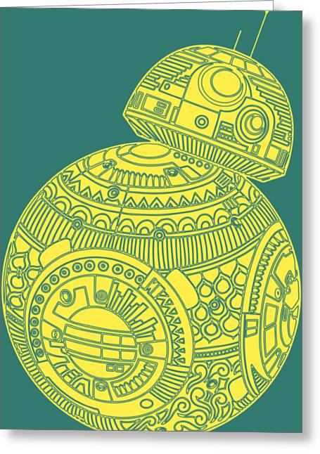 Bb8 Droid - Star Wars Art, Yellow Greeting Card