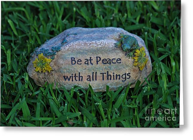 Greeting Card featuring the photograph 1- Be At Peace by Joseph Keane