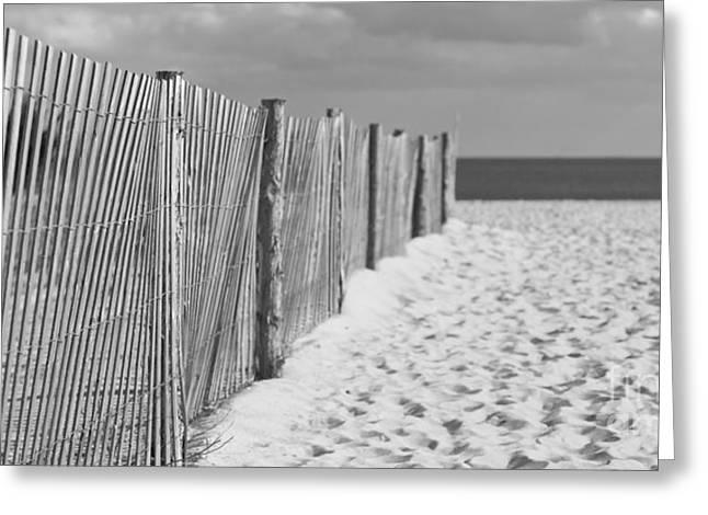 Beach Fence On The Sand Greeting Card