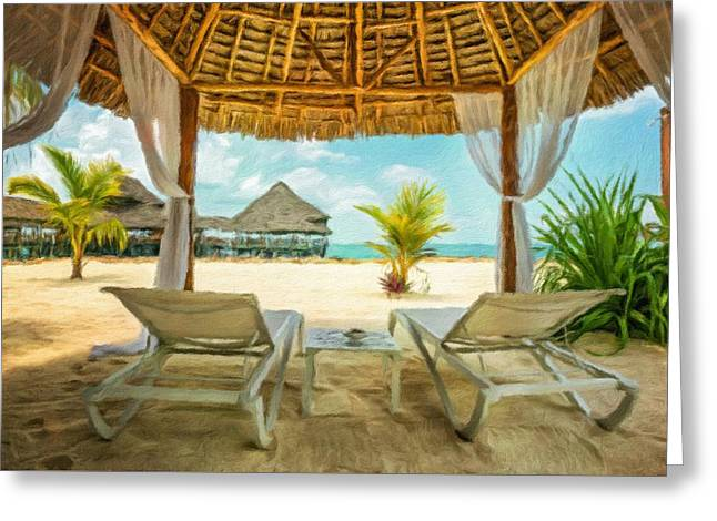 Beach Lounges And A Beach Bar, Zanzibar, Tanzania Greeting Card