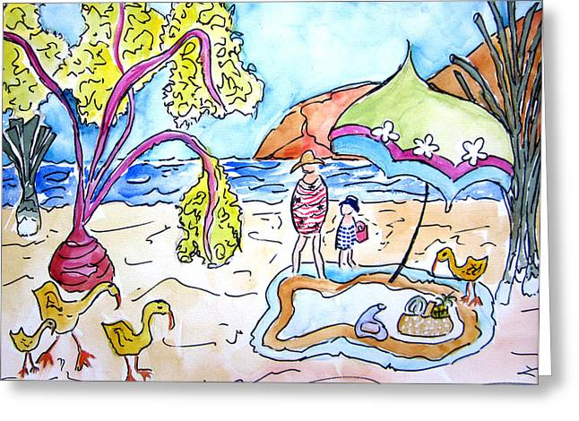 Beach Picnic Greeting Card by Suzanne Stofer
