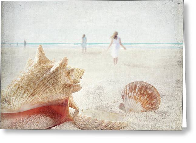 Beach Scene With People Walking And Seashells Greeting Card