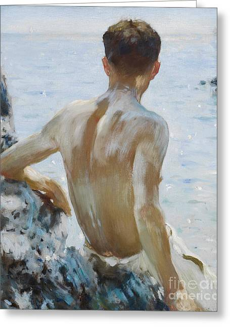 Beach Study Greeting Card by Henry Scott Tuke