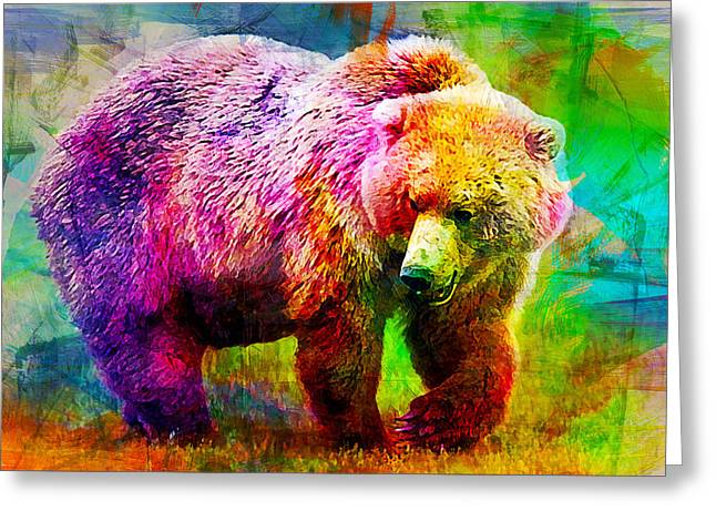 Bear Greeting Card by Elena Kosvincheva