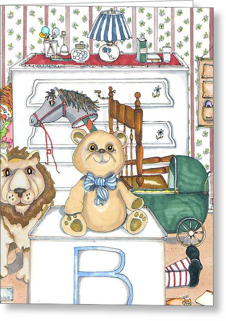 Bear On Block Greeting Card by Susan Nelson