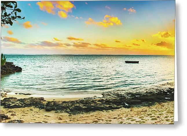 Beautiful Beach At Sunset. Panorama Greeting Card