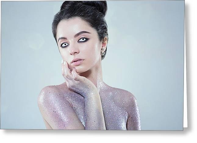 Beautiful Creative Fashion Makeup Greeting Card by Evgeniia Litovchenko