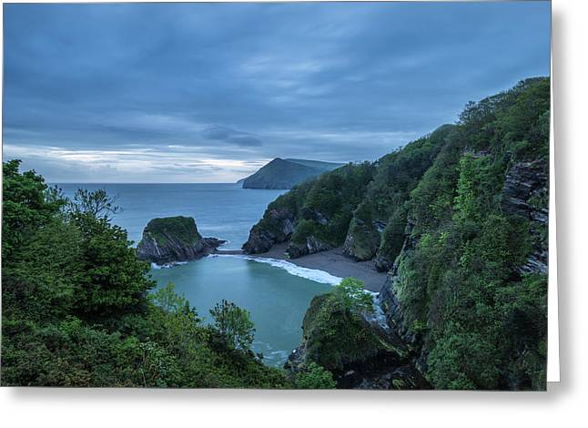 Beautiful Dramatic Sunrise Landsape Image Of Small Secluded Cove Greeting Card