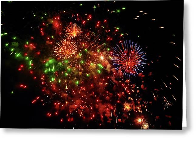 Beautiful Fireworks Against The Black Sky Of The New Year Greeting Card