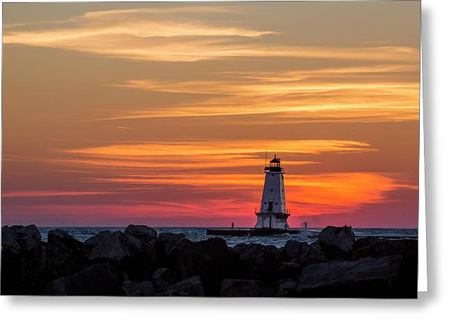 Greeting Card featuring the photograph Beautiful Ludington Lighthouse Sunset by Adam Romanowicz