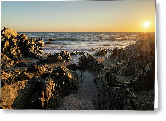 Beautiful Vibrant Sunset Landscape Image Of Calm Sea Against Roc Greeting Card