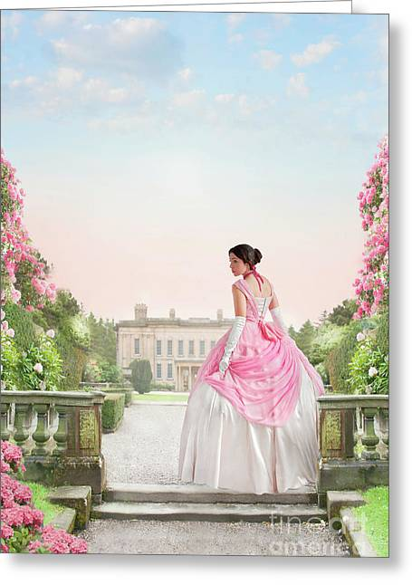 Beautiful Victorian Woman In The Garden Greeting Card