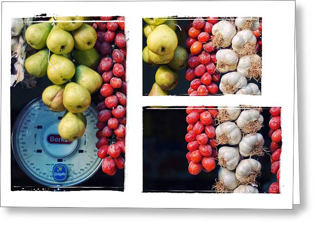 Beauty In Tomatoes Garlic And Pears Triptych Greeting Card by Silvia Ganora