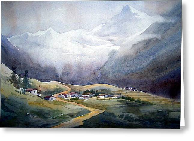 Beauty Of Himalayan Village Greeting Card by Samiran Sarkar