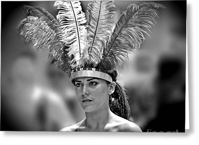 Beauty With A Feathered Headdress II Greeting Card