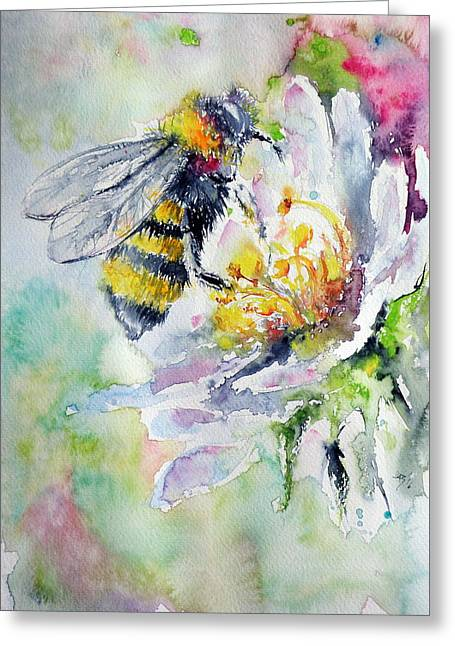 Bee On Flower Greeting Card by Kovacs Anna Brigitta