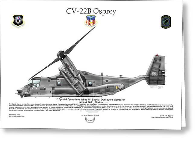 Bell Boeing, Cv-22b, Osprey Greeting Card by Arthur Eggers