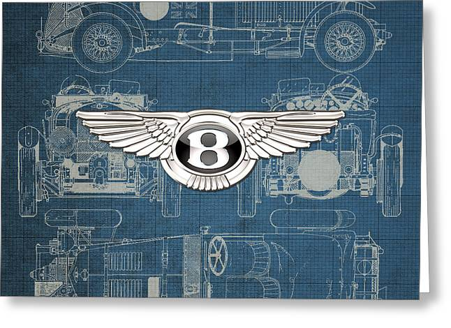 Bentley - 3 D Badge Over 1930 Bentley 4.5 Liter Blower Vintage Blueprint Greeting Card by Serge Averbukh