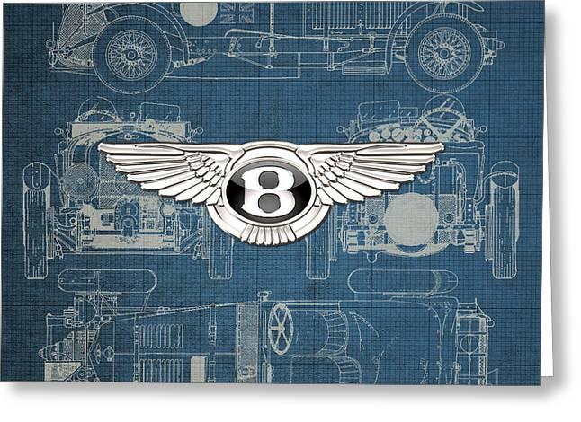 Bentley - 3 D Badge Over 1930 Bentley 4.5 Liter Blower Vintage Blueprint Greeting Card