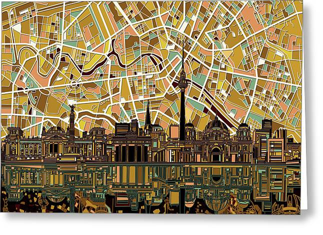 Berlin City Skyline Abstract Greeting Card by Bekim Art