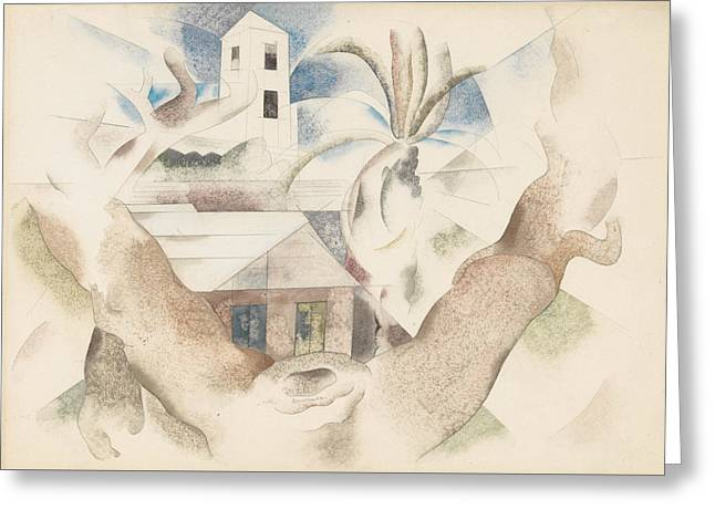 Bermuda No. 1, Tree And House Greeting Card by Charles Demuth
