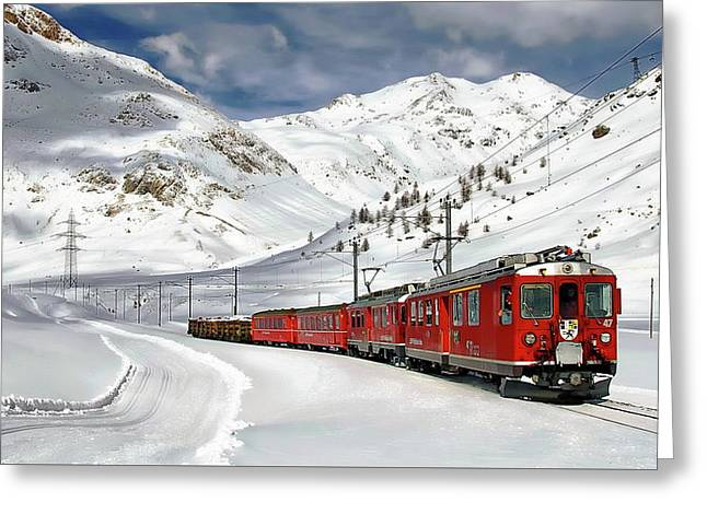 Bernina Winter Express Greeting Card
