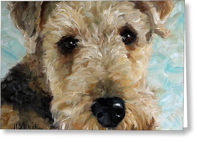 Airedale Terrier Greeting Cards - Best Friend Greeting Card by Mary Sparrow