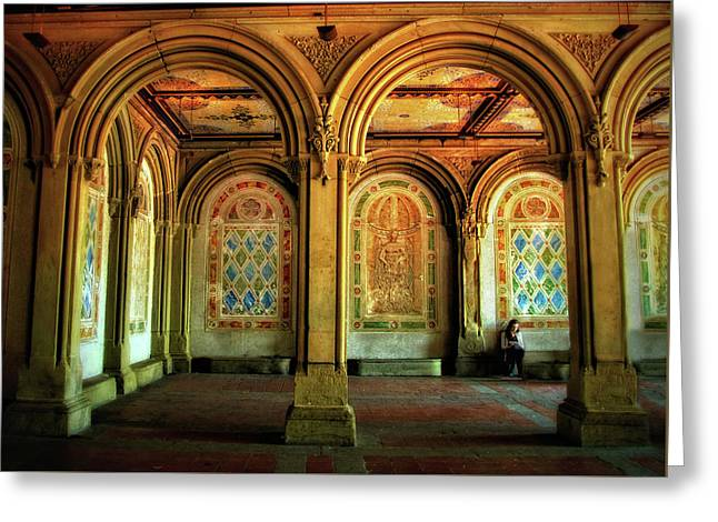 Greeting Card featuring the photograph Bethesda Terrace Arcade by Jessica Jenney