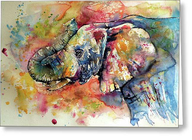 Big Colorful Elephant Greeting Card