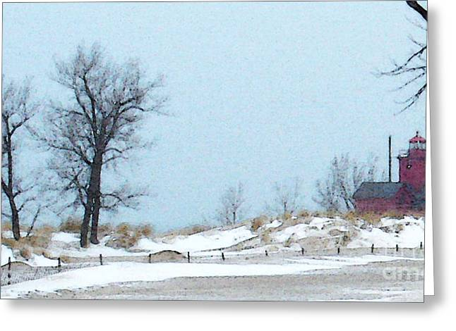 Greeting Card featuring the photograph Big Red Lighthouse - View 1 by Linda Shafer