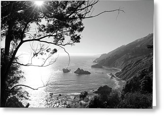 Big Sur Black And White Greeting Card
