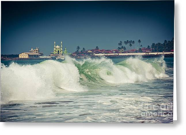 Big Wave On The Coast Of The Indian Ocean Kerala India Greeting Card