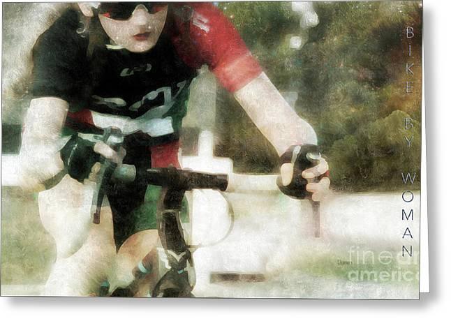 Bike By Woman Greeting Card by Steven Digman