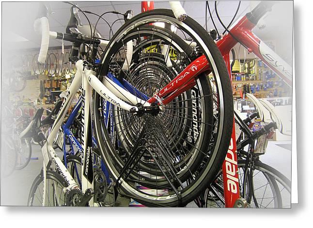 Bike Wheels Greeting Card