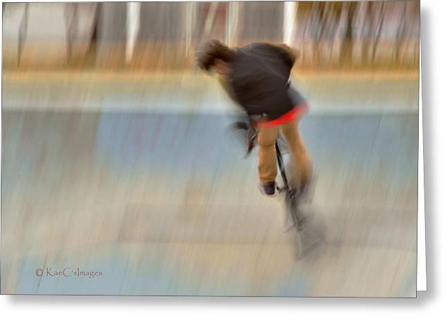 Greeting Card featuring the photograph Biking  The Skateboard Park 4 by Kae Cheatham