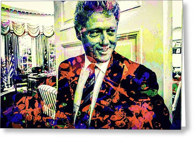 Bill Clinton Greeting Card by Svelby Art