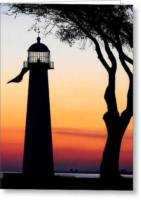 Biloxi Greeting Cards - Biloxi Lighthouse at Dusk Greeting Card by Joan McCool