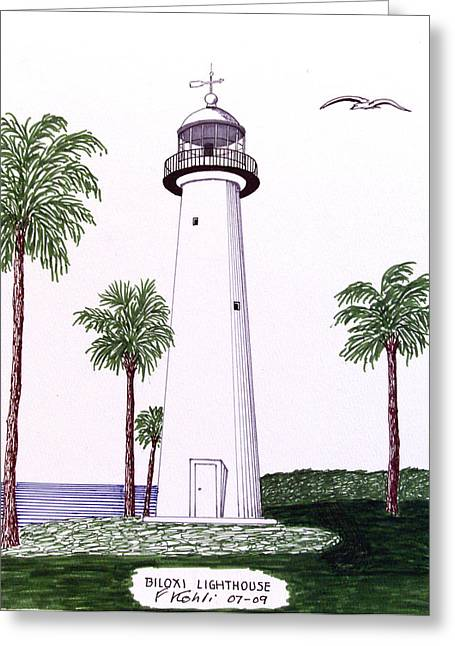 Historic Buildings Images Drawings Greeting Cards - Biloxi Lighthouse Greeting Card by Frederic Kohli