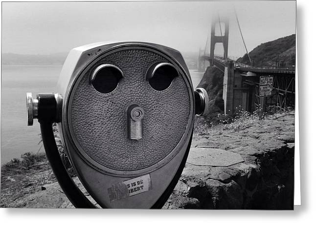 Binoculars Greeting Card by Les Cunliffe