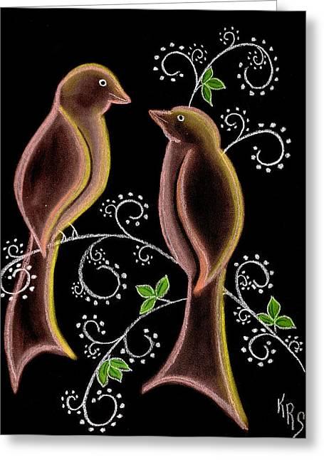 Bird Doodle Greeting Card by Karen R Scoville