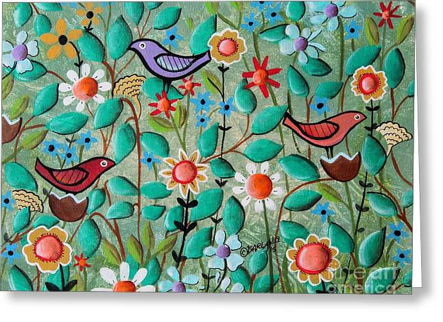 Birds And Blooms Greeting Card by Karla Gerard
