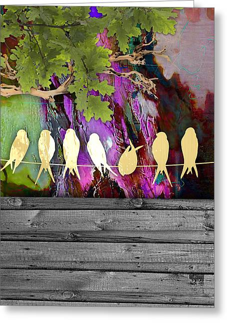 Birds On A Wire Collection Greeting Card