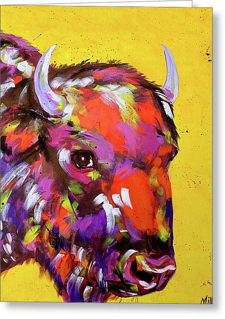 Bison In Yellow Greeting Card