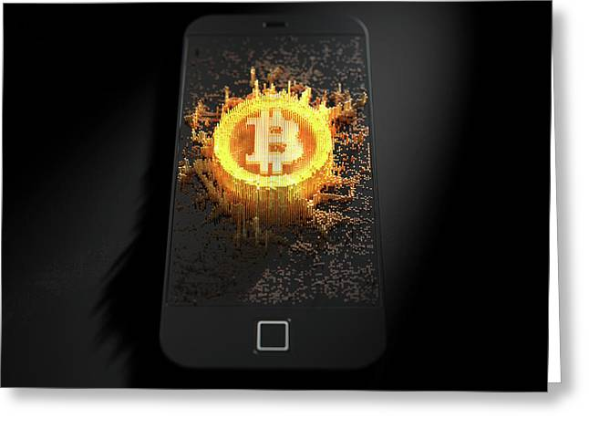 Bitcoin Cloner Smartphone Greeting Card by Allan Swart