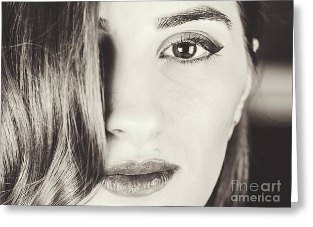 Black And White Portrait Of Beautiful Classy Girl Greeting Card by Radu Bercan