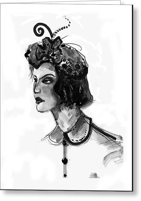 Greeting Card featuring the mixed media Black And White Watercolor Fashion Illustration by Marian Voicu